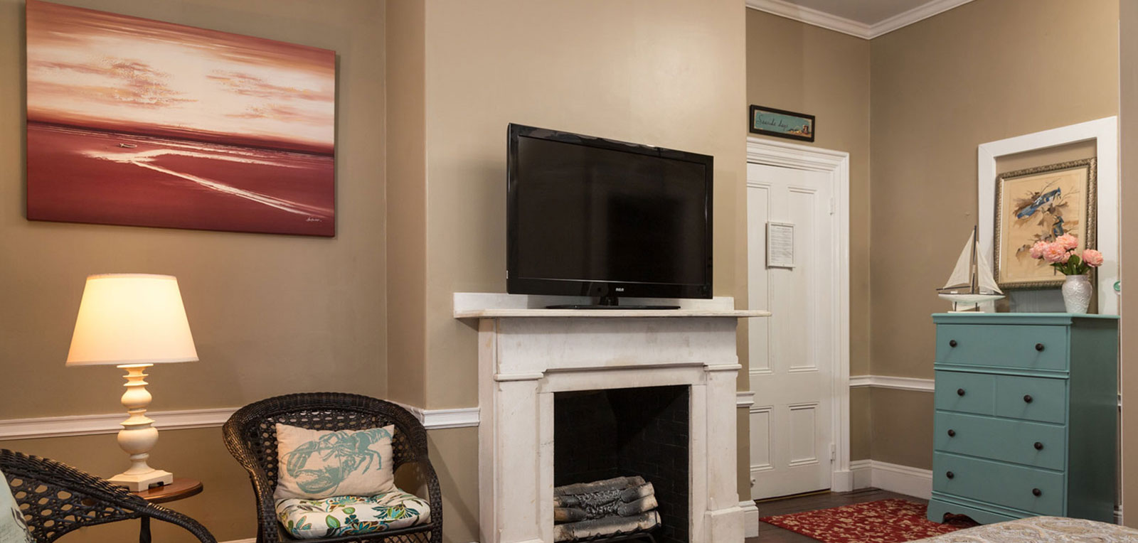 King Private Bath TV, Fireplace and Paintings | ADMIRAL SIMS B&B, Newport Rhode Island